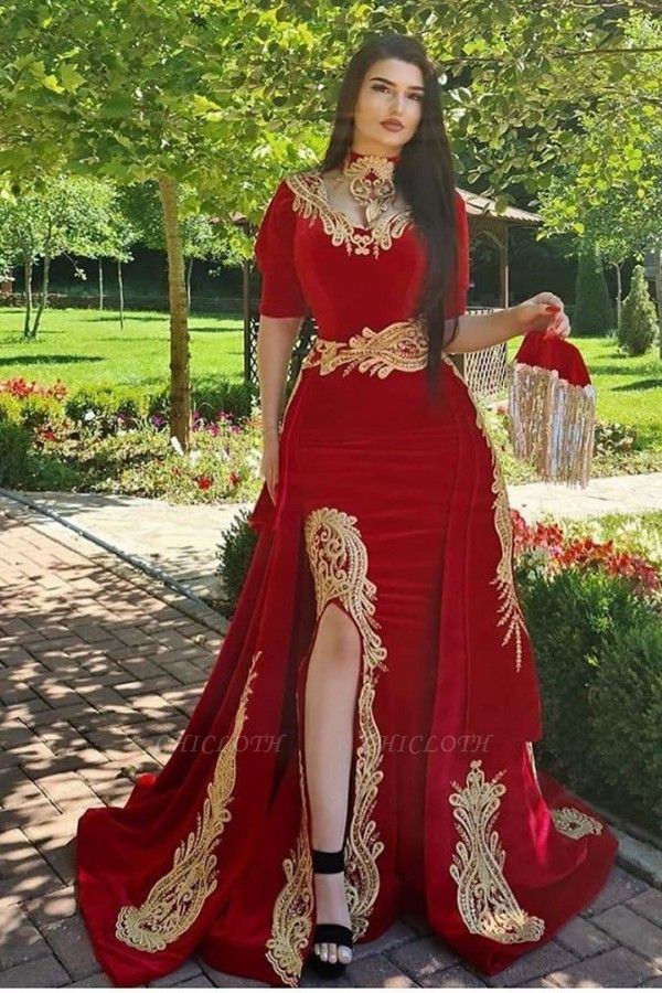 ZY170 Elegant Evening Dresses Long Red Prom Dresses With Sleeves