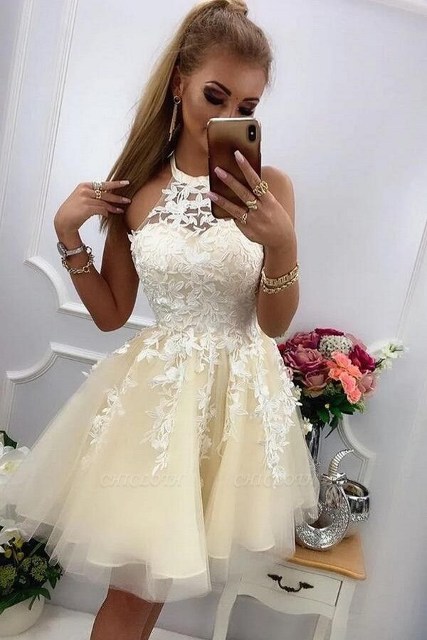 ZY220 Chic Cocktail Dresses With Lace Prom Dresses Party Dresses Short