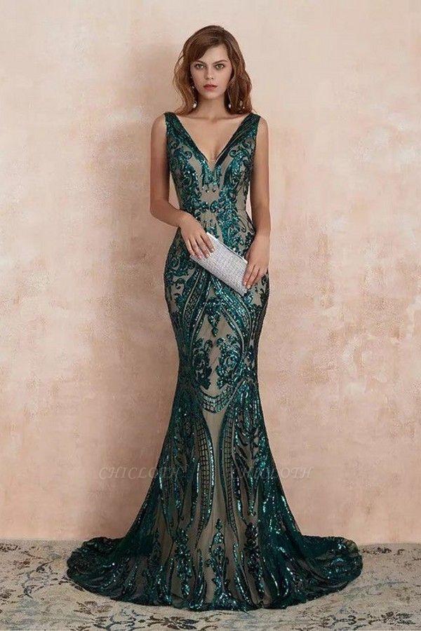 ZY189 Green Evening Dresses Long V Neck Prom Dresses Glitter