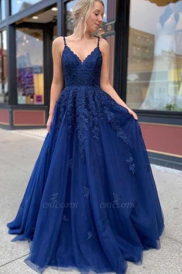 ZY213 Royal Blue Evening Dresses Long Cheap Prom Dresses With Lace