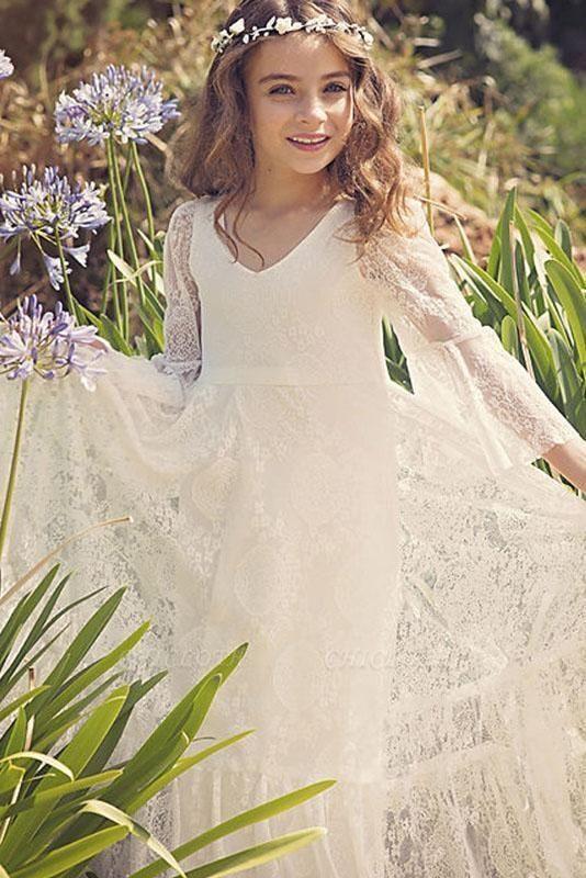 White Scoop Neck Long Sleeves Dress Flower Girls Dress