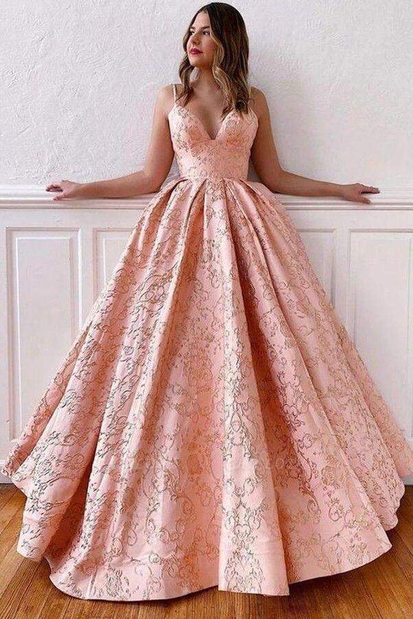 ZY214 Luxury Evening Dress Long Pink Prom Dresses V Neck