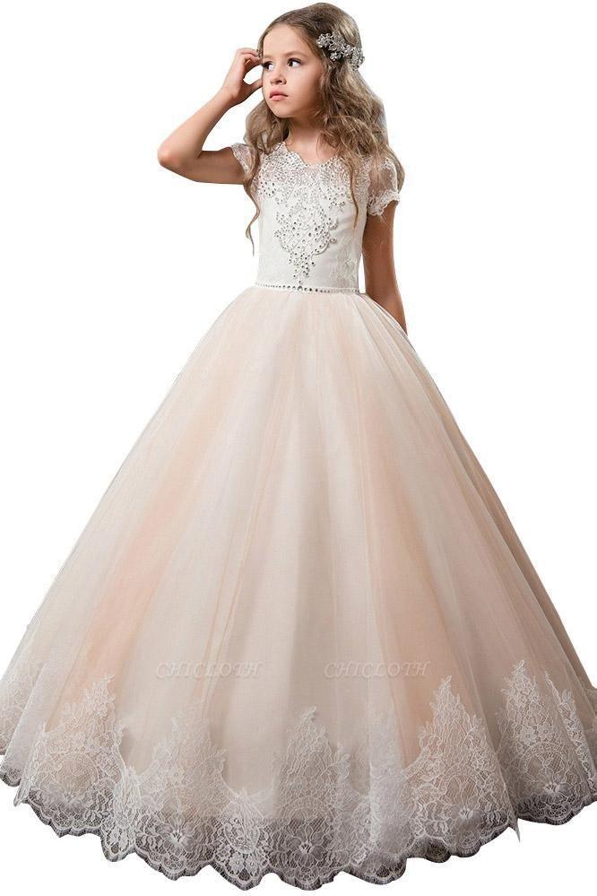 Light Pink Scoop Neck Short Sleeve Ball Gown Flower Girls Dress