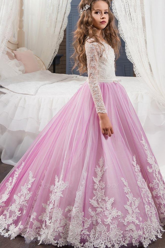 Scoop Neck Long Sleeves Ball Gown Flower Girls Dress