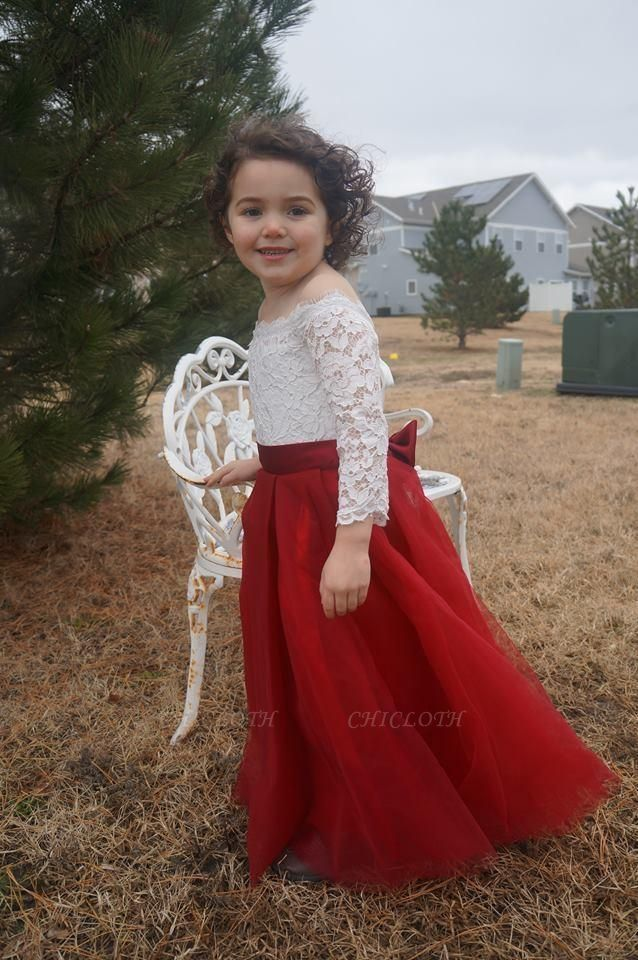 Scoop Neck 3/4 Sleeves Ball Gown Flower Girls Dress