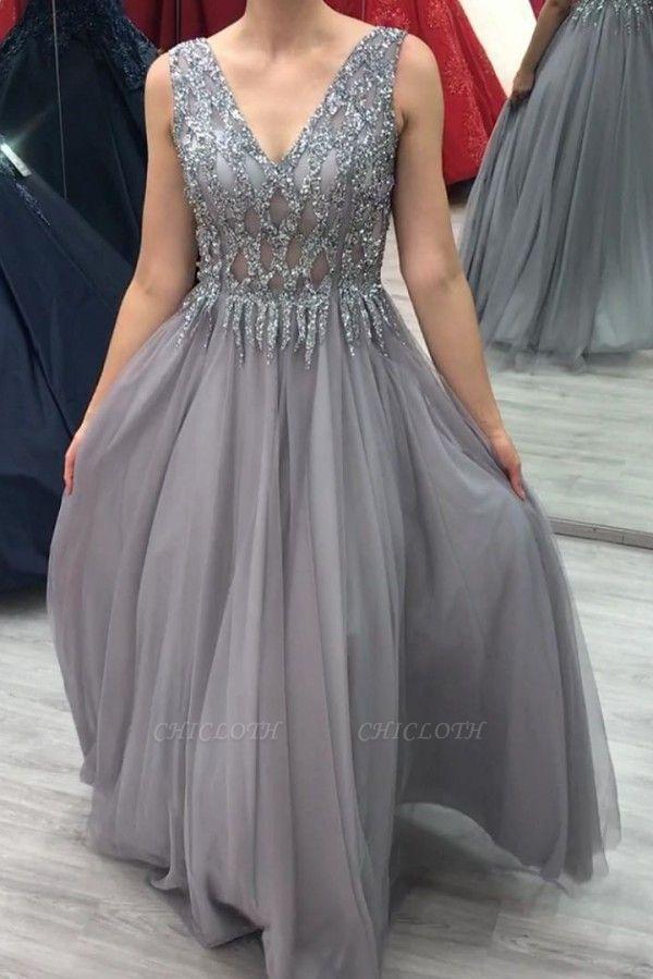ZY280 Elegant Evening Dresses Long V Neck Prom Dresses Glitter
