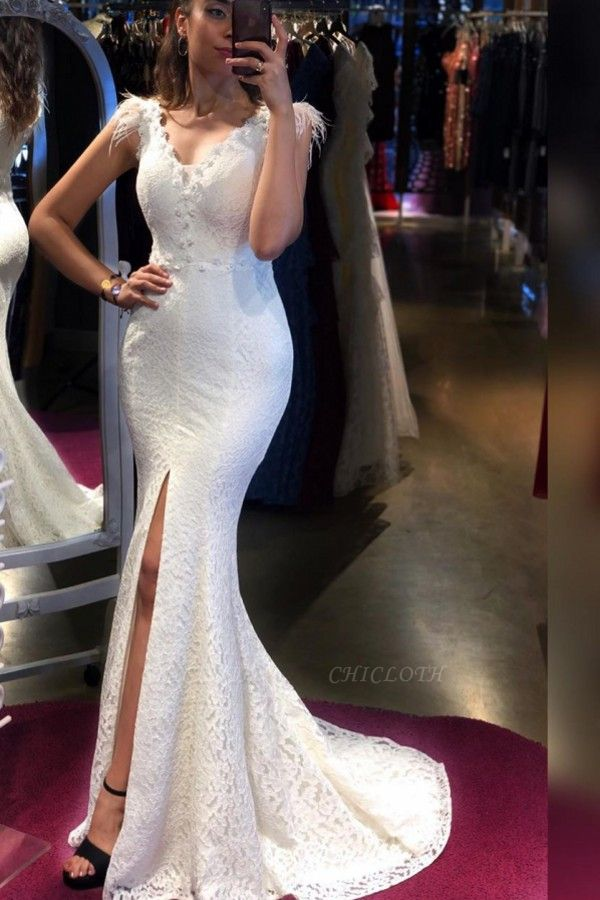 ZY302 Simple Evening Dresses Long White Prom Dresses With Lace
