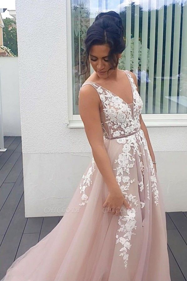 ZY251 Evening Dresses Long V Neck Boho Dress With Lace