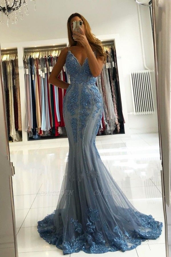 ZY282 Blue Evening Dresses Long Glitter Prom Dresses With Lace