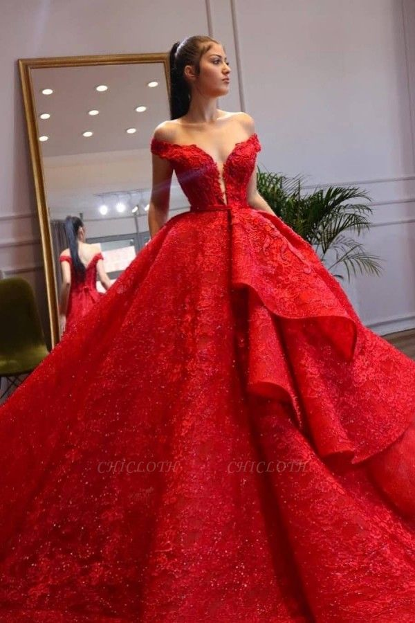 ZY299 Extravagant Evening Dresses Long Red Abenmoden Lace