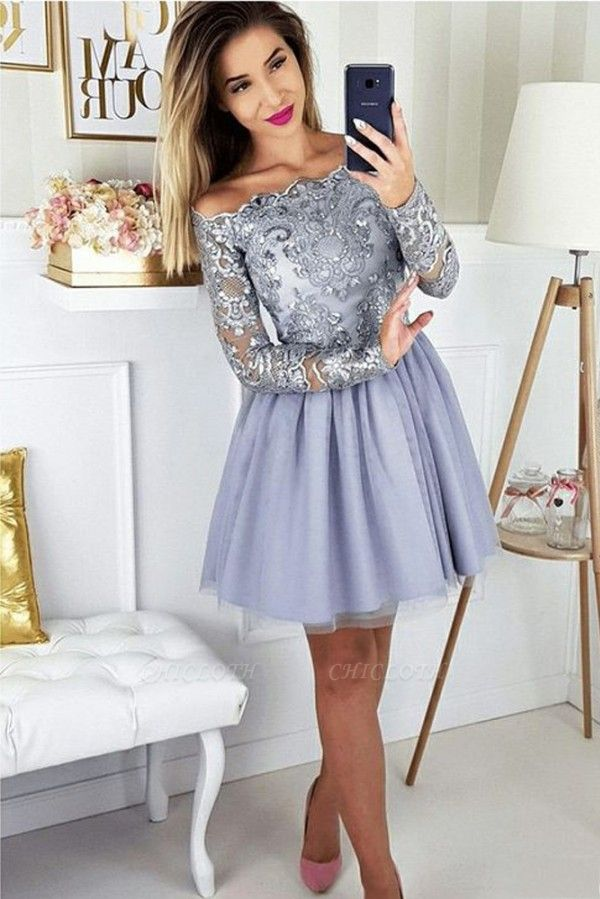 ZY271 Cocktail Dresses With Sleeves Short Prom Dresses Glitter