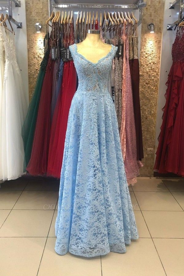ZY236 Lighter Blue Evening Dresses Maternity Clothes Mascara Dresses With Lace