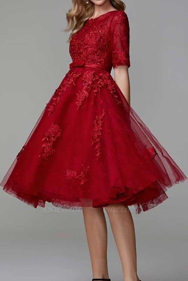 ZY270 Evening Dresses Short Red Lace Cocktail Dresses With Sleeves