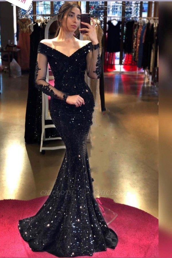 ZY281 Designer Evening Dresses Long Black Prom Dresses Glitter With Sleeves