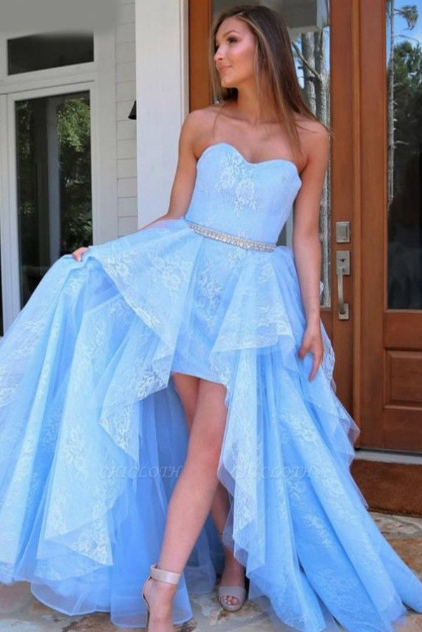 ZY238 Light Blue Evening Dress With Lace Cocktail Dresses Short Front Long Back
