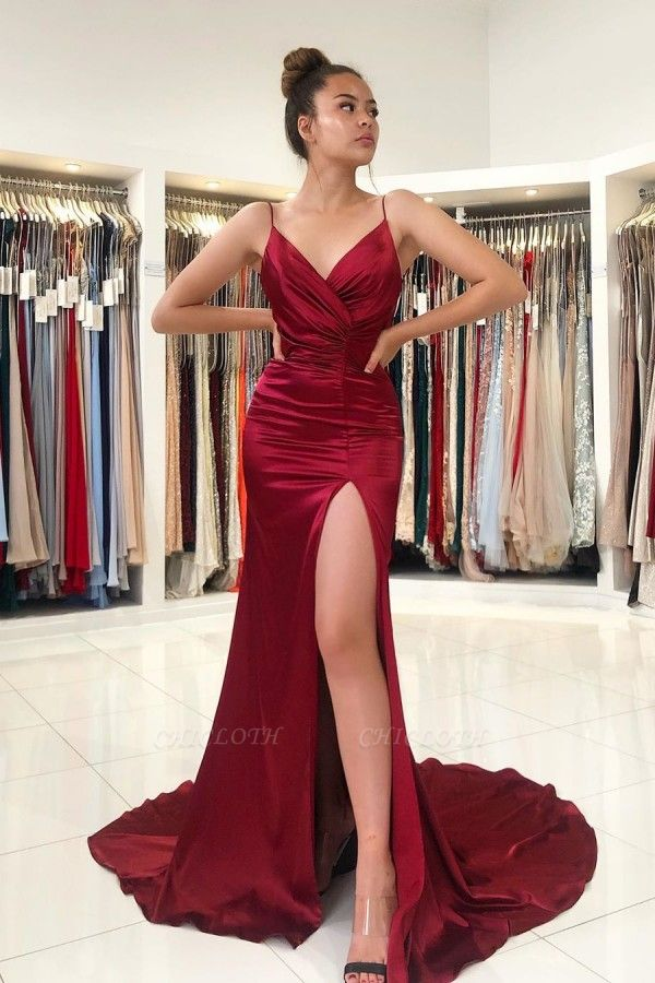 ZY298 Simple Evening Dress Wine Red Evening Wear Prom Dresses Online