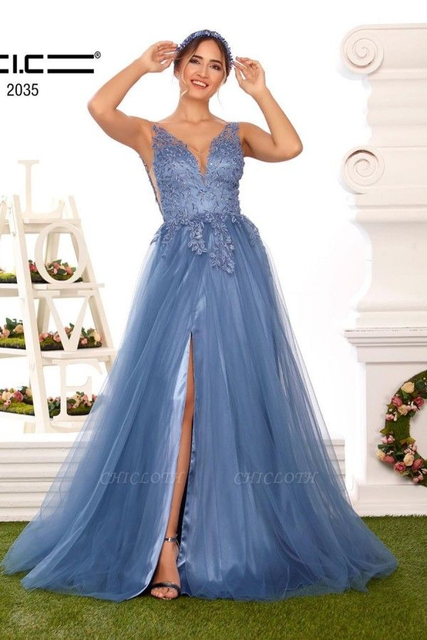 ZY328 Evening Dresses Long V Neckline Prom Dresses With Pointy Blue