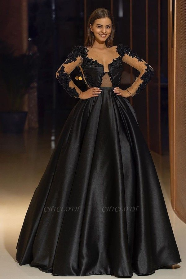 ZY325 Elegant Evening Dresses Long Black Evening Wear With Sleeves