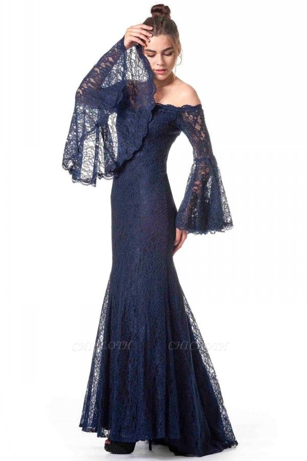 ZY354 Navy Blue Evening Dresses With Sleeves Lace Prom Dresses Long Cheap