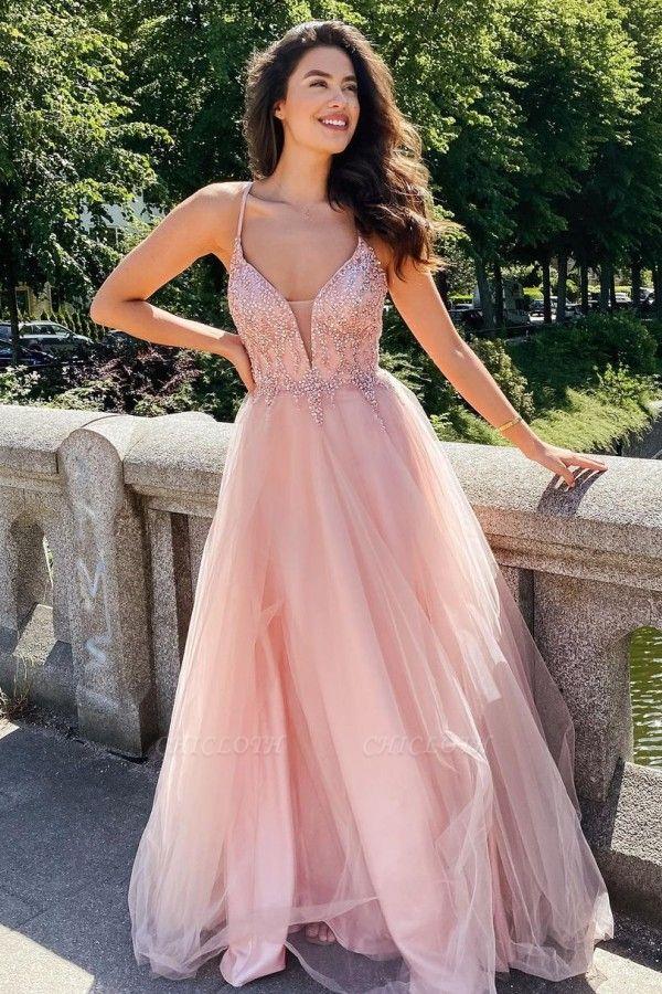 ZY355 Elegant Evening Dresses Long Pink Evening Wear V Neckline