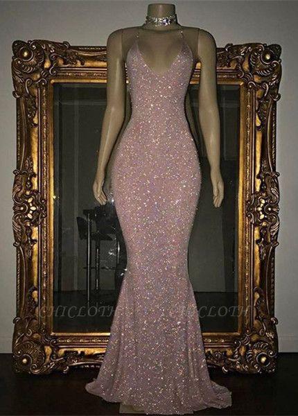 Stunning Spaghetti-strap Sequined Mermaid Long Sleeveless Prom Dress