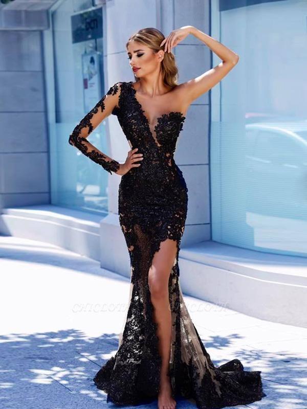 One-Shoulder Black Lace Front Split Prom Dress BA9571