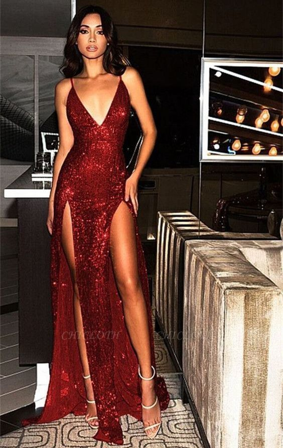 Sexy Sequined Spaghetti Strap Front Split Evening Dress