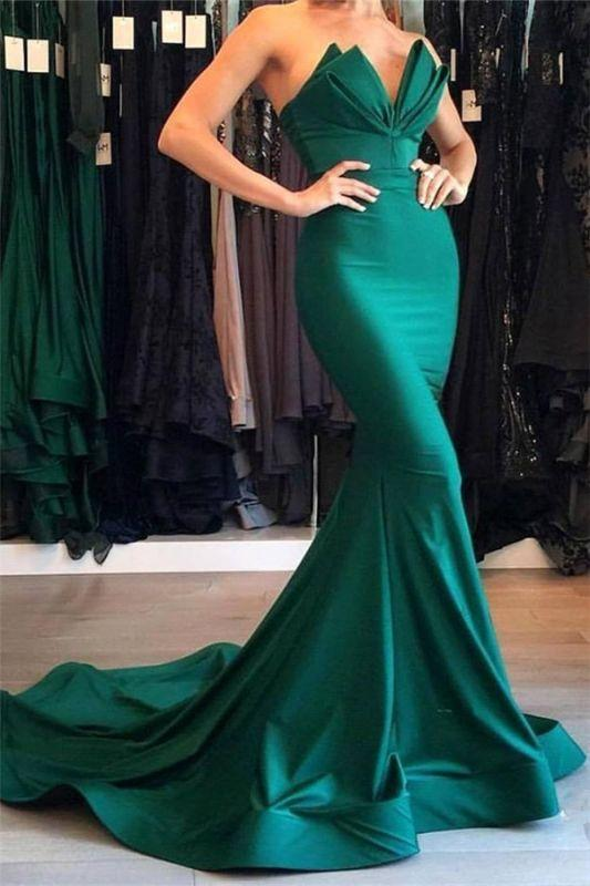 Chicloth Sexy Mermaid Strapless Green Prom Dresses 2019 Mermaid Simple Evening Gowns