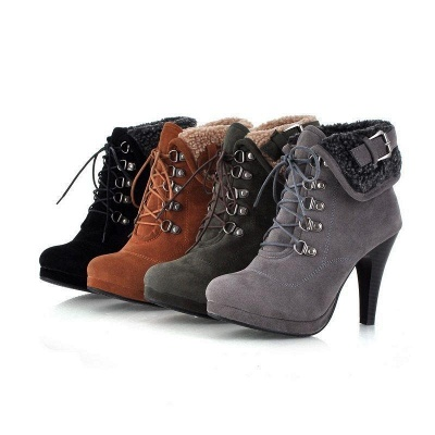B| Chicloth Women High Heel Half Short Ankle Boots_1