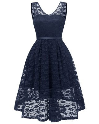 A| Chicloth Women's Surplice V-Neck Retro Floral Lace Evening Dresses_3