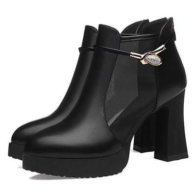 Daily Chunky Heel Buckle Pointed Toe Elegant Boots_5