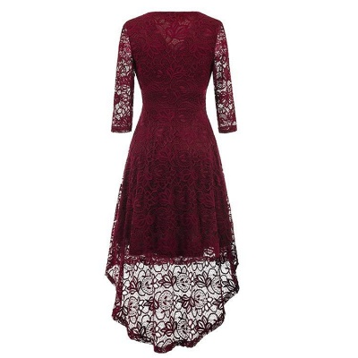 A| Chicloth Women 1950s Vintage Deep V Neck High-low Hem Lace Cocktail Party Dress_3