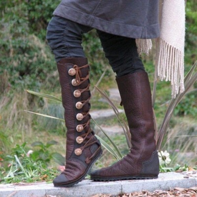 B| Chicloth Women Fashion Leather Boots Side Buttons Bandage Boots_1