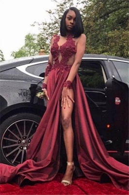 Chicloth Burgundy A-Line Long Sleeves Prom Dresses 2019 Appliques Side Slit Evening Dresses SK0107_1
