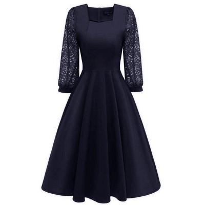 A| Chicloth Burgundy A-line Half Sleeve Lace Dress_7