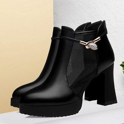 Daily Chunky Heel Buckle Pointed Toe Elegant Boots_4