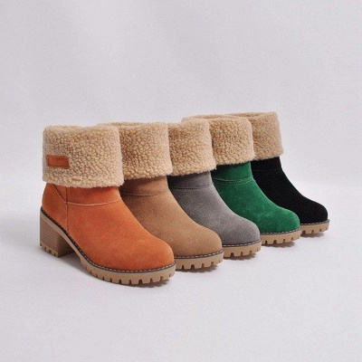 A  Chicloth Women's Winter Short Boots Round Toe Snow Boots_8