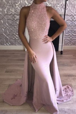 Chicloth Glittering Pink Mermaid Prom Dresses | High Neck Evening Gown with Overskirt_1