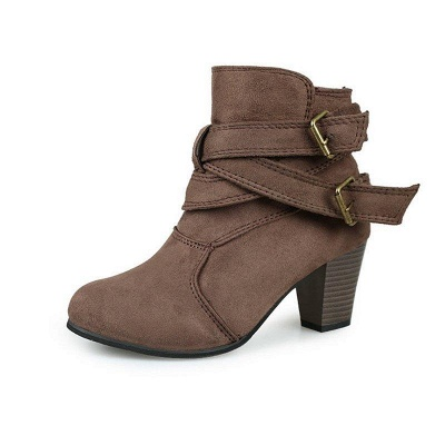 Suede Buckle Chunky Heel Daily Elegant Round Boots_6