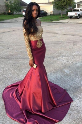 Chicloth Gold Lace Appliques Off The Shoulder Evening Gowns Long Sleeve Mermaid 2019 Prom Dress CE0071_3