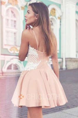 A-Line Spaghetti Straps Champagne Short Homecoming Dress with Lace_2