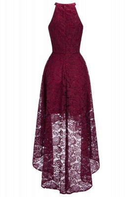 Chicloth Halter Sleeveless Sheath Asymmetrical Burgundy Lace Dresses_1
