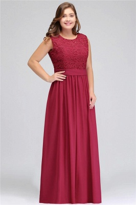 A| Chicloth Crew Neck Lace Bridesmaid Dress Plus Size Prom Evening Dress Formal_1