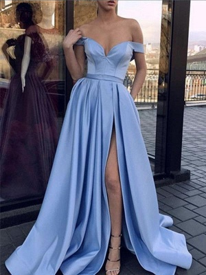 Chicloth A-Line Sleeveless Off-The-Shoulder Sweep/Brush Train With Ruffles Satin Dresses_2