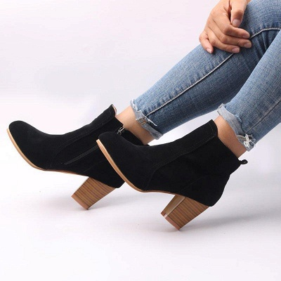 Suede Chunky Heel Zipper Daily Round Boots_4