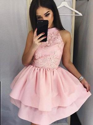 Chicloth A-Line Lace Jewel Sleeveless Satin Short/Mini Dresses_1
