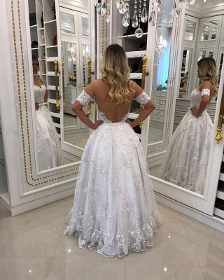 Modern White Beads Lace A-line Evening Dress | Off-the-shoulder Evening Gown_2