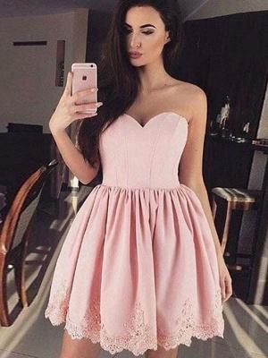 Chicloth A-Line Sweetheart Lace Satin Short/Mini Dresses_1