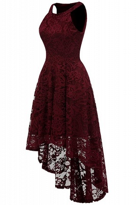 A| Chicloth Casual 1950s High Low Sleeveless Lace Dresses_6