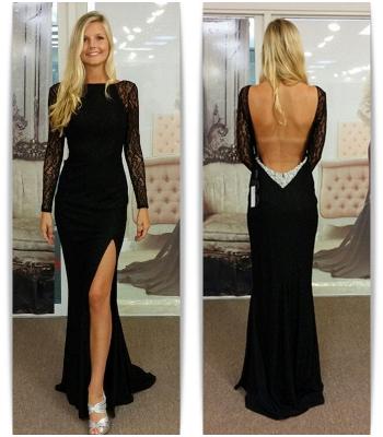 Chicloth Black Bateau Spandex Evening Dresses Backless Long Sleeves 2019 Prom Dresses_3